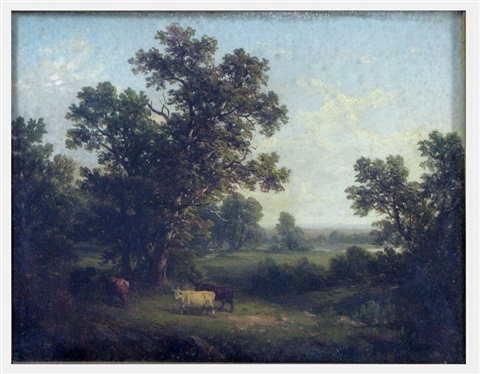 untitled landscape with cows and distant pond by john william casilear