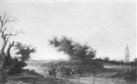 a cattle drover in a wooded dune landscape with church spires and a windmill on the horizon beyond by jacob van mosscher
