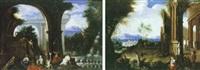 scène d'offrande dans des ruines antiques by thomas blanchet