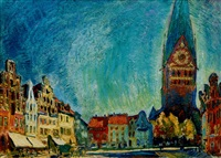 lüneburg, am sande with st. john's church by arthur illies