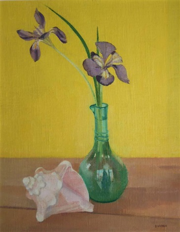 still life iris and conch shell by barbara warren