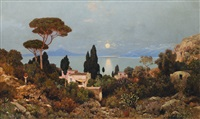 view from capri on mount vesuvius by edmund berninger