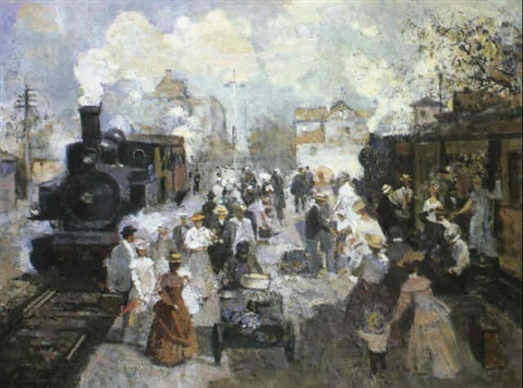 larrivée du train by vladimir litvinienko