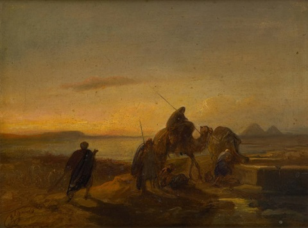 caravane arrivant au puits orientaliste by jacob jacobs