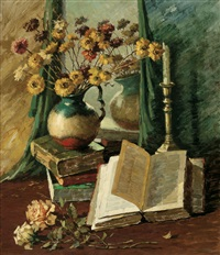 still life with books and candle stick by bessie ellen davidson