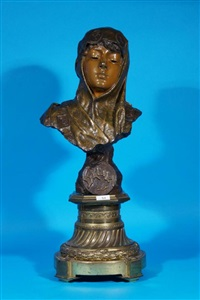 bronze bust dalila by emmanuel villanis