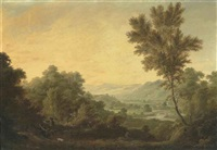 a mountainous river landscape with hunters carrying a dear by george barret