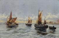 fischerbarken an der holländischen küste by georg fischhof