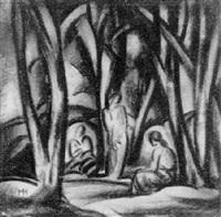 drei figuren in landschaft by hugo mund