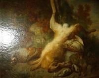 trophée de chasse au pied d'un arbre, lièvre suspendu par une patte, perdreaux rouges et grives by jean alexandre rémy couder