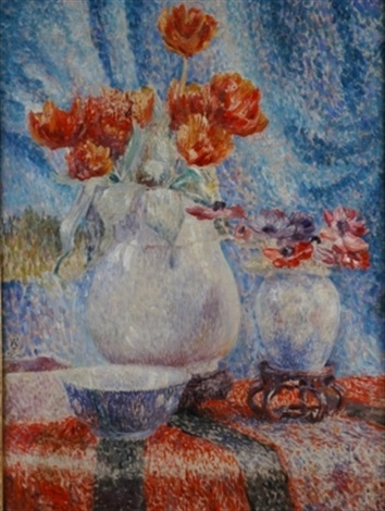 tulips in a white vase by pol parmentier