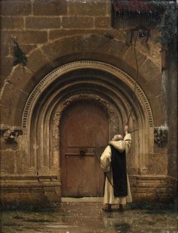 moine sonnant la cloche du monastère sous la pluie by jean léon gérôme