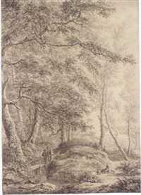 peasants crossing a bridge at the edge of a dense wood, with others resting nearby by vincent jans van der vinne