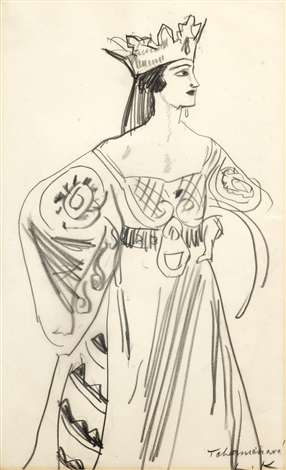 lubov tchernicheva in the costume of the queen of hearts in la boutique fantastique by dame laura knight