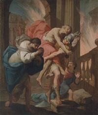 aeneas and his father fleeing the burning troy by gaetano gandolfi