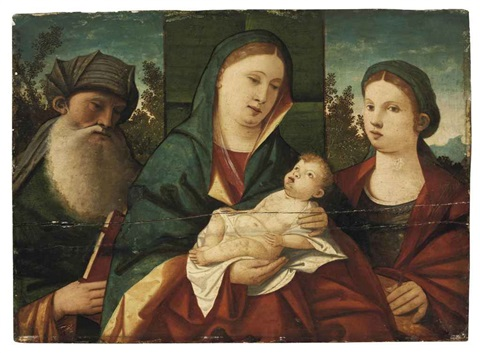 the madonna and child with saint anthony abbot and saint catherine in a landscape by giovanni bellini