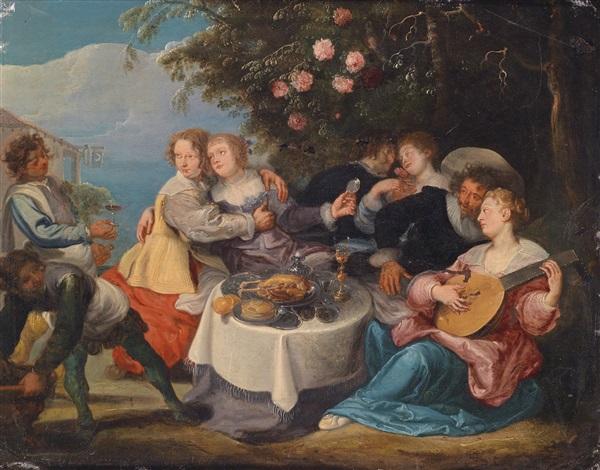fröhliche gesellschaft bei einem mahl und musik im garten einer schenke by willem van herp the elder