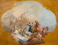 the apotheosis of a venetian nobleman accompanied by the four cardinal virtues, within a painted cartouche (a bozzetto) by francesco zugno the younger