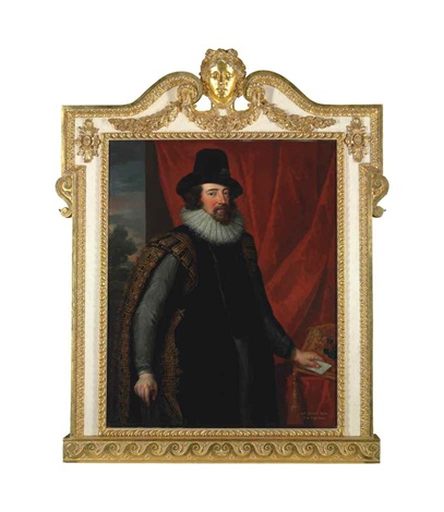 portrait of sir francis bacon 1561 1626 three quarter length in lord chancellors robes before a red curtain a wooded landscape beyond by john vanderbank the younger