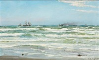 summer day at skagen with numerous ships on the sea by carl ludvig thilson locher