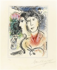 double portrait at the easel by marc chagall