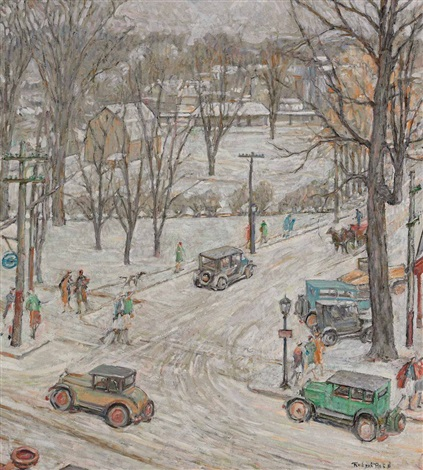 street scene in winter by robert reid