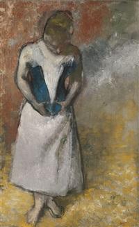 femme debout et vue de face agrafant son corset by edgar degas
