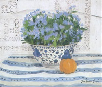 still life on a striped cloth by jane simone bussy