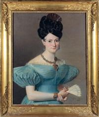 jeune femme en robe bleue, tenant un éventail by jean-jacques-françois monanteuil