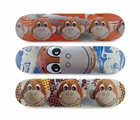 monkey train skate decks (3 works) by jeff koons