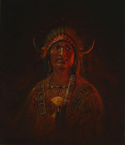 portrait of an indian with headdress by astley david middleton cooper