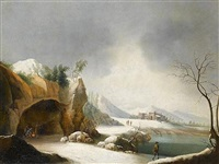 a winter landscape with figures around a campfire at the mouth of a grotto by jules cesar denis van loo