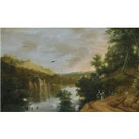 an extensive river landscape with elegant travellers, a château on the banks of the river by lucas achtschellinck