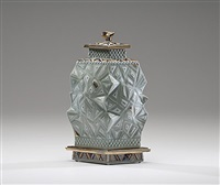 celadon lidded vessel with carved base by ralph bacerra