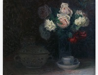 still life of roses and porcelain by maximilian lenz