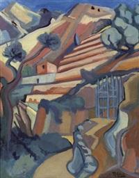 a sunlit mountainous landscape by ruurd elzer