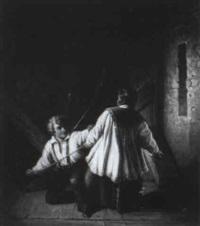 ministrant beim glöcknerburschen im glockenstuhl by johann karl bähr