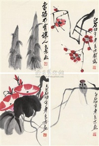 花卉 (in 4 parts) by qi liangmo