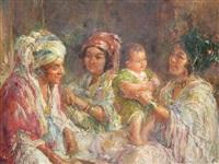 femmes et enfant berbères by edouard verschaffelt