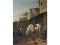 a stable boy saddling a grey horse by pieter cornelius verbeeck