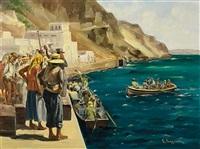 at the old port of fira, santorini by vasilis germenis