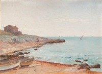 plage aux barques et voiliers by louis-lina bill