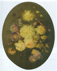 a flower still life with peonies, dahlilas and carnations by moise jacobber