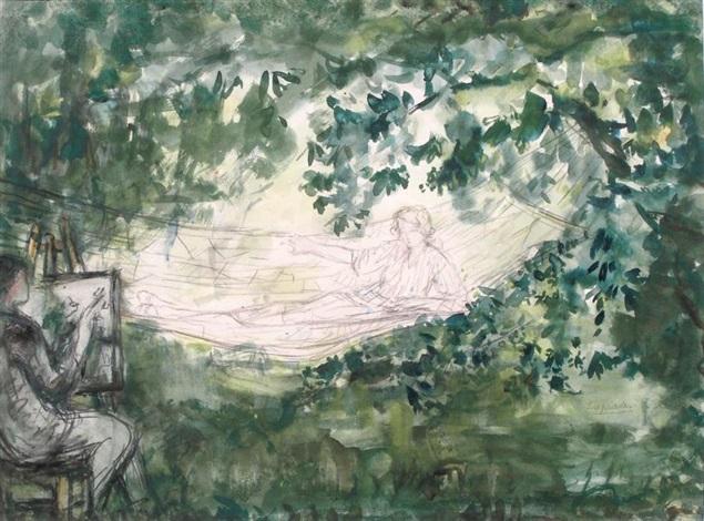 le peintre et son modèle au hamac by pierre laprade