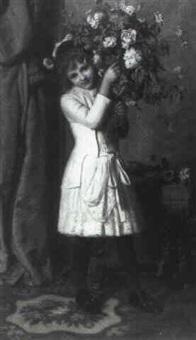 bambina con un mazzo di fiori by augusto volpini