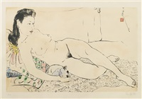 nude with a cat by pan yuliang