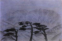 landscape with pine trees, himalayas by svetoslav nikolaevich roerich