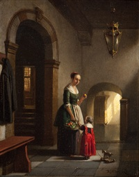 a 17th century interior with mother and child by hubertus van hove