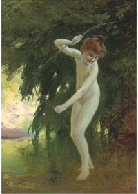 a nymph at a woodland pool by louis adolphe tessier
