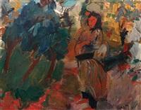 villager in the field by pinchas litvinovsky